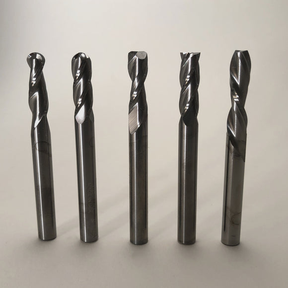 5 Piece 1/4 Inch End Mill Set