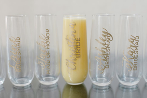 Custom Champagne Flutes (Plastic) - Set of 6