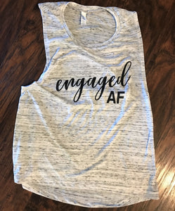 Engaged AF White Flowy Muscle Tank