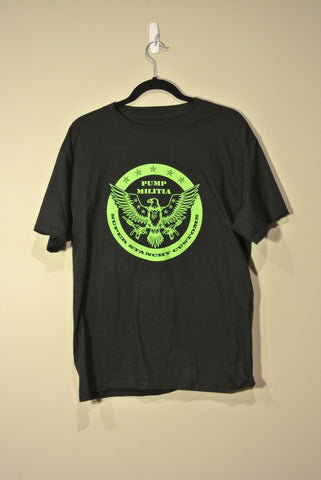 Round Pump Militia T-Shirt Black w/ Lime