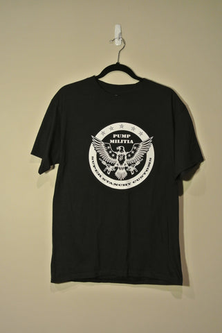 Round Pump Militia T-Shirt Black w/ White