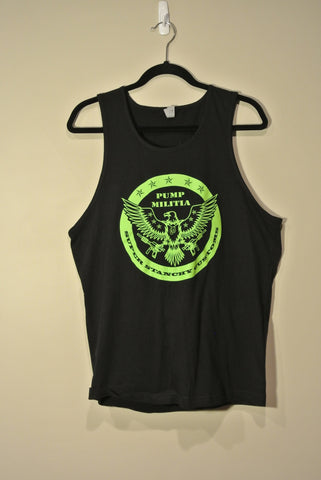 Round Pump Militia Tank Top Black w/ Lime