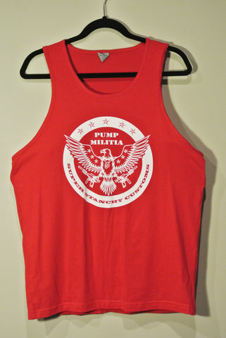 Round Pump Militia Tank Top Red w/ White