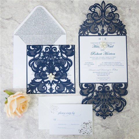 elegant laser cut navy wedding invitation lagorce studio