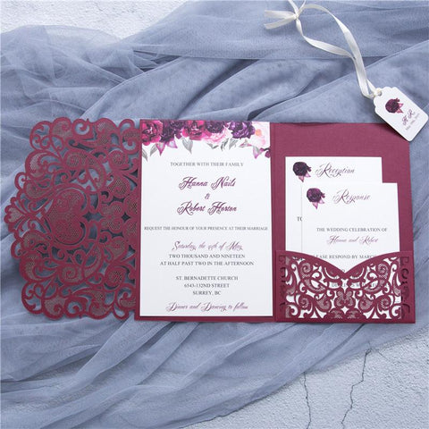 graceful love heart tri fold laser cut invitation lagorce studio