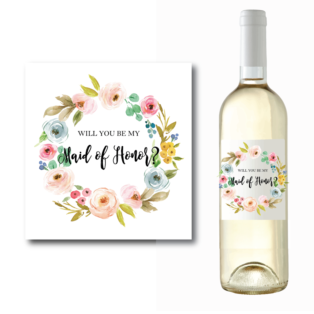 will you be my bridesmaid wine label lagorce studio