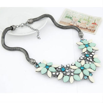 Colorful Rhinestone Flower Choker Necklace