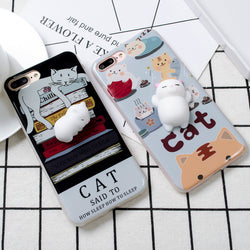 3D Squishy Stress Relief Chubby Cat iPhone Case