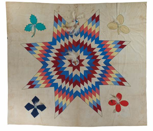 Star Quilt with Feathers