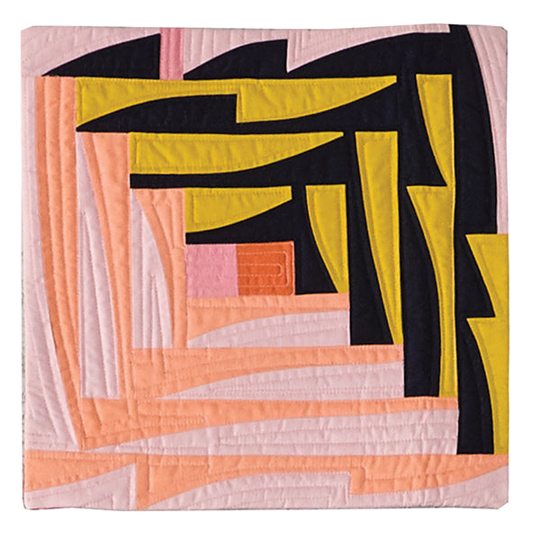 Improv Abstraction Meets Log Cabin by Karen Foster for Curated Quilts Mini Quilt Challenge
