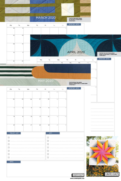 FREE 2020 Printable Calendar from Curated Quilts