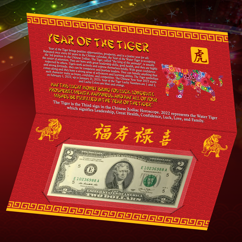 2019 CNY Chinese YEAR of the PIG Lucky Money US $100 Bill w// Red Folder S//N 88