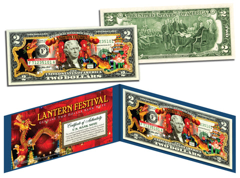 Chinese LANTERN FESTIVAL Colorized $2 Bill U.S. Legal Tender Currency - Lucky Money