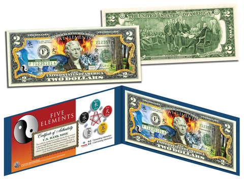 Chinese FIVE ELEMENTS Colorized $2 Bill U.S. Legal Tender Currency - Wu Xing - Yin Yang
