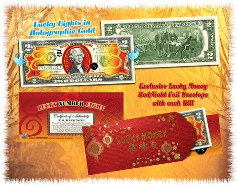 Chinese LUCKY NUMBER EIGHT #8 Gold Hologram U.S. $2 Bill with Red Envelope