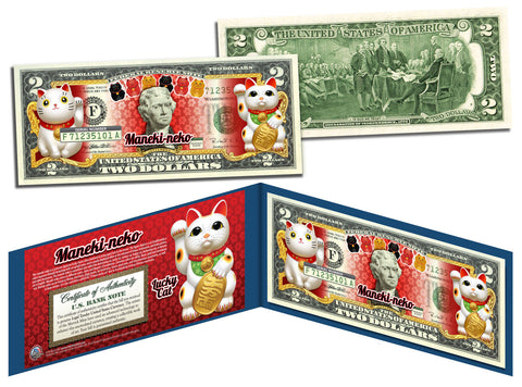 MANEKI NEKO LUCKY CAT Genuine Legal Tender U.S. $2 Bill Lucky Money Maneki-neko