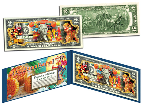 Chinese & Vietnamese MID AUTUMN FESTIVAL U.S. $2 Bill Legal Tender Currency - Lucky Money
