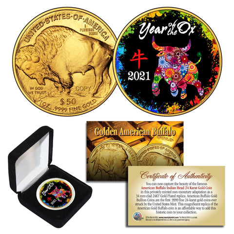 2021 Chinese New Year YEAR OF THE OX 24 Karat Gold Plated $50 American Gold Buffalo Indian Tribute Coin with DELUXE BOX - PolyChrome