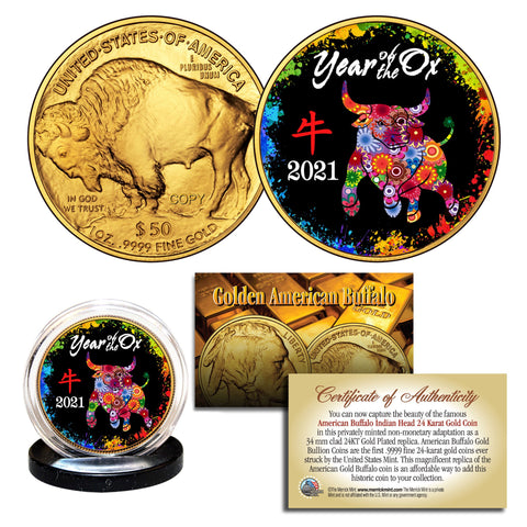 2021 Chinese New Year YEAR OF THE OX 24 Karat Gold Plated $50 American Gold Buffalo Indian Tribute Coin - PolyChrome