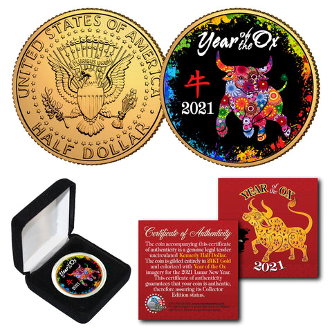 2021 Chinese New Year * YEAR OF THE OX * 24K Gold Plated JFK Kennedy Half Dollar Coin with DELUXE BOX - PolyChrome