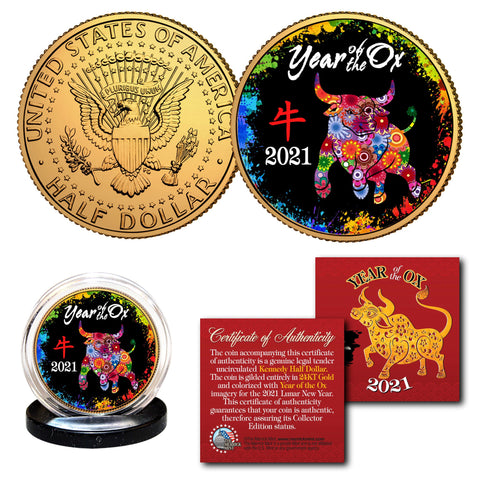2021 Chinese New Year * YEAR OF THE OX * 24K Gold Plated JFK Kennedy Half Dollar U.S. Coin - PolyChrome