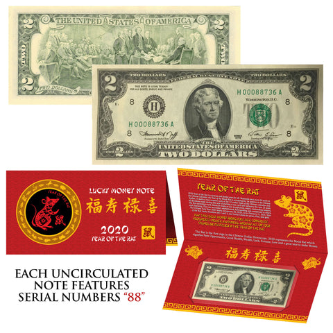 2020 Chinese YEAR of the RAT Lucky Money S/N 88 U.S. 1976 $2 Bill w/ Red Folder