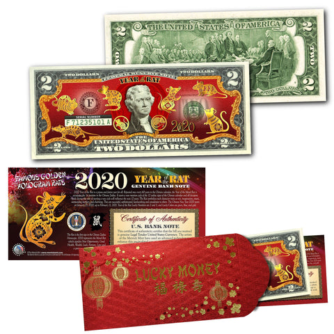 2020 Chinese New Year - YEAR OF THE RAT - 8 GOLD HOLOGRAM RAT'S Legal Tender U.S. $2 BILL with Red Envelope
