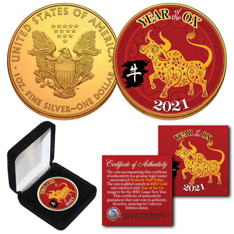 2021 Chinese New Year YEAR OF THE OX 24K Gold Plated 1 OZ AMERICAN SILVER EAGLE Coin with DELUXE BOX