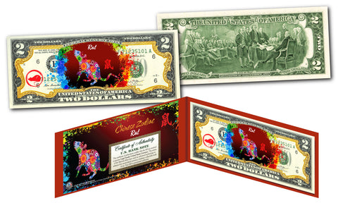 Chinese ZODIAC Genuine U.S. $2 Bill Red Polychrome Blast * YEAR of the RAT *