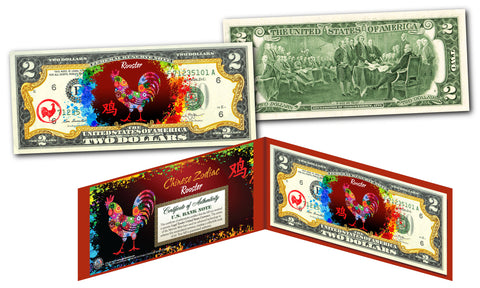 Chinese ZODIAC Genuine U.S. $2 Bill Red Polychrome Blast * YEAR of the ROOSTER *