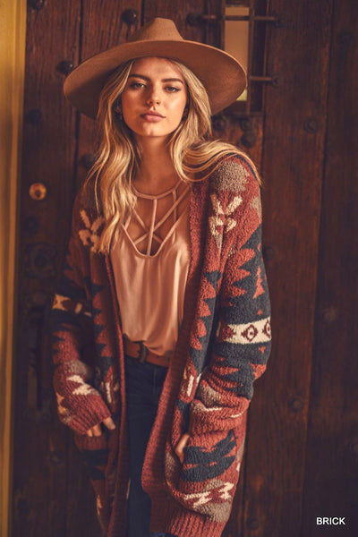 Tribal Print Cardigan with Pockets