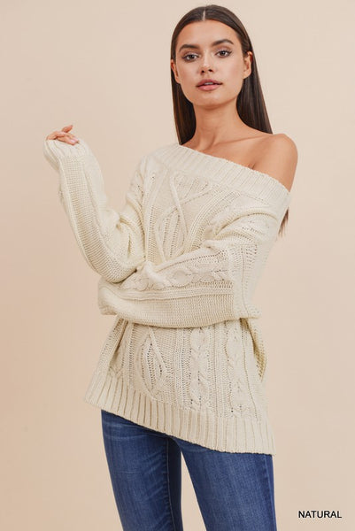 Cable Knit Off Shoulder Sweater