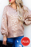 Brunch Babe Rose Gold Leopard Sweater