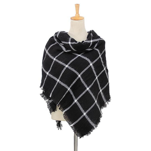 Black & White Plaid Women's Blanket Scarf