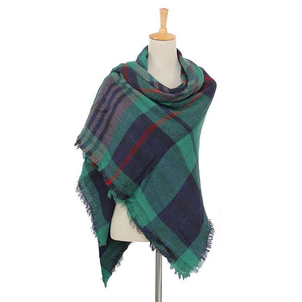 Blue & Green Women's Blanket Scarf