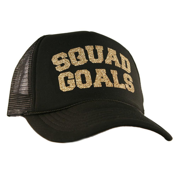 "Black ""Squad Goals"" Glitter Trucker Hats"