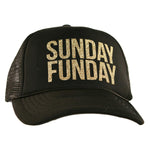 "Black ""Sunday Funday"" Glitter Trucker Hats"