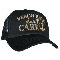 "Black ""Beach Hair Don't Care"" Glitter Trucker Hats"