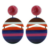 Hot Pink and Navy Multicolored Striped Drop Acrylic Earrings
