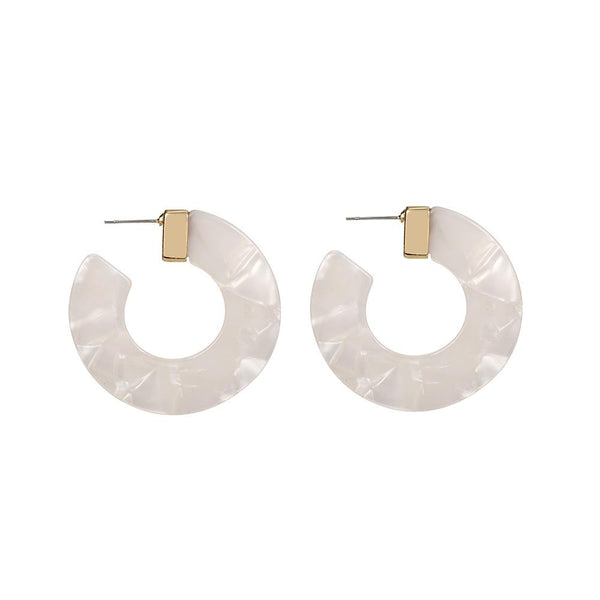 Ivory Acrylic Hoop Earrings