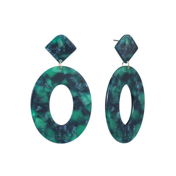 Green Acrylic Drop Earrings