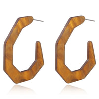 Brown 7-sided Acrylic Hoop Earrings
