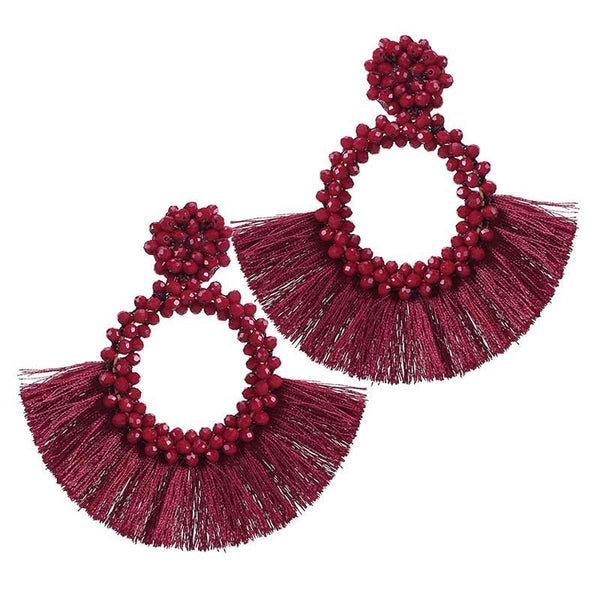 Dark Red Tassel and Glass Bead Earrings