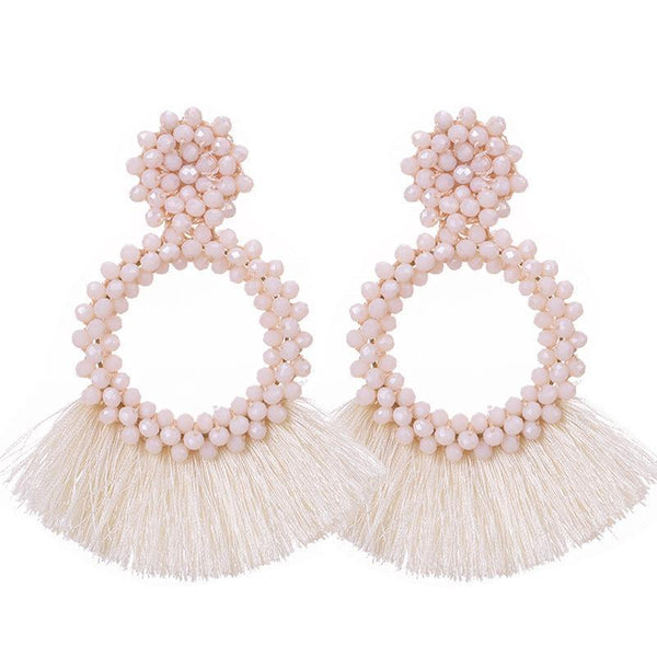 Cream Tassel and Glass Bead Earrings