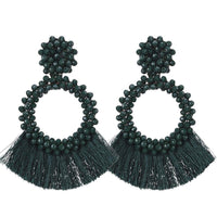 Dark Green Tassel and Glass Bead Earrings