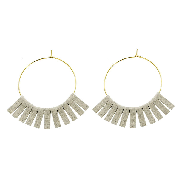 Gray Leather Circle Earrings