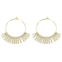 Ivory Leather Circle Earrings