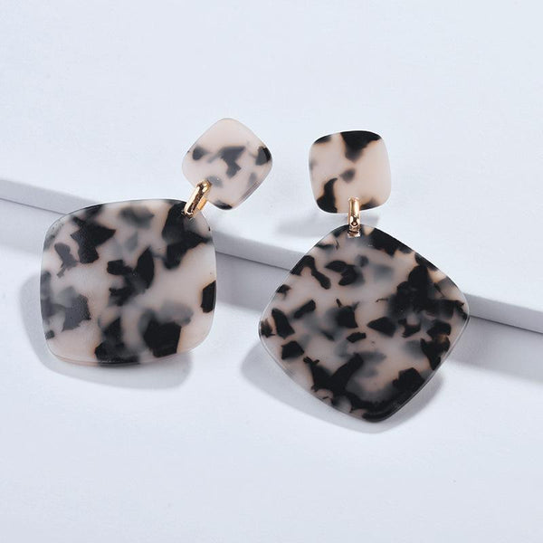Black/Gray/Brown Acetate Drop Earrings