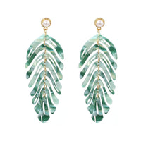 Green Acrylic Laser Cut Leaf Earrings