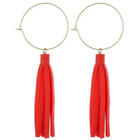 Coral Leather Tassel Earrings